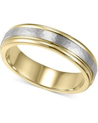 Macy's - Men's 14k Gold And 14k White Gold Ring, Two-tone Hammered Wedding Band - Lyst
