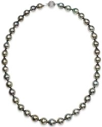 Macy's - Pearl Necklace, 14k White Gold Round Tahitian Pearl Strand (9-11mm) - Lyst