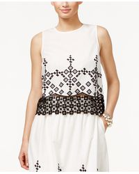 Cece by Cynthia Steffe - Sleeveless Embroidered Lace-hem Blouse - Lyst