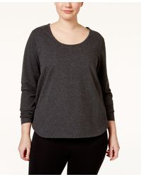 Jessica Simpson The Warm Up Plus Size Cutout-back Top - Gray