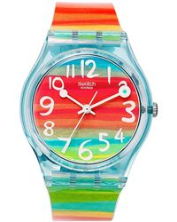 Swatch - Watch, Unisex Swiss Color The Sky Rainbow Plastic Strap 34mm Gs124 - Lyst