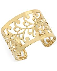 Hint Of Gold - Filigree Cuff Bracelet In 14k Gold-plated Metal - Lyst