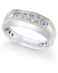 Macy's | Men's Diamond Two-tone Five-stone Ring (1/2 Ct. T.w.) In 10k Gold & White Gold | Lyst