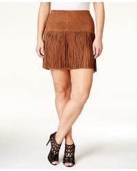 American Rag - Plus Size Faux-suede Fringe Mini Skirt, Only At Macy's - Lyst