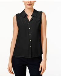 Cece by Cynthia Steffe - Sleeveless Embellished Blouse - Lyst