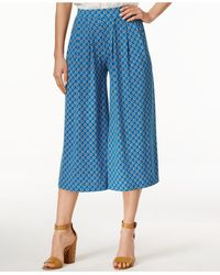 Cece by Cynthia Steffe - Cece Printed Wide-leg Cropped Trousers - Lyst
