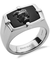DIESEL Stainless Steel And Agate Ring