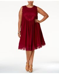 American Rag - Plus Size Crochet-front Layered Shift Dress, Only At Macy's - Lyst