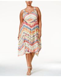 American Rag - Plus Size Printed Handkerchief-hem Midi Dress, Only At Macy's - Lyst
