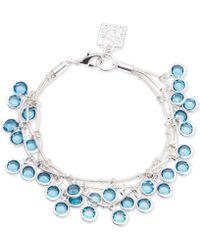 Anne Klein - Silver-tone Blue Crystal Multi-row Shaky Bracelet - Lyst