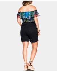 City Chic - Trendy Plus Size Ripped Denim Shorts - Lyst