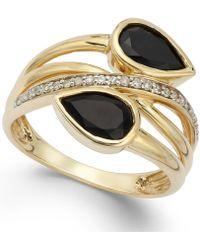 Macy's - Onyx (1-3/8 Ct. T.w.) And Diamond (1/10 Ct. T.w.) Ring In 14k Gold - Lyst