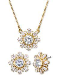 "Badgley Mischka - Crystal Flower 16"" Pendant Necklace & Stud Earrings Set - Lyst"