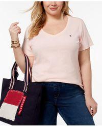Tommy Hilfiger - Plus Size Cotton V-neck T-shirt - Lyst