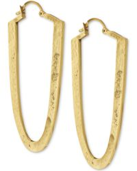 Vince Camuto - Gold-tone Textured Elongated Oval Hoop Earrings - Lyst
