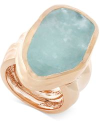 Vince Camuto - Rose Gold-tone Blue Stone Chunky Statement Ring - Lyst