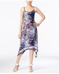 Eci - Paisley-print A-line Handkerchief-hem Dress - Lyst