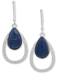 Nine West - Silver-tone & Stone Textured Orbital Drop Earrings - Lyst