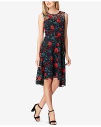Tahari - Floral-print Sleeveless Embroidered Dress - Lyst