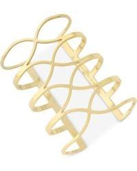 Vince Camuto - Gold-tone Crisscross Long Cuff Bracelet - Lyst