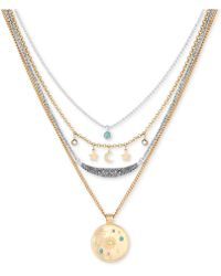 "Lucky Brand - Two-tone Charm & Stone Celestial Removable Multi-layer Necklace, 16"" + 2"" Extender - Lyst"