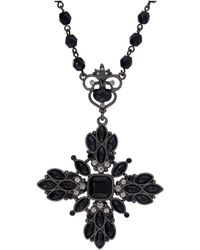 "2028 - Black-tone Black And Black Diamond Color Beaded Floral Pendant Necklace 16"" Adjustable - Lyst"