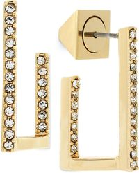 Vince Camuto - Gold-tone Multi-dimension Pave Square Hoop Earrings - Lyst