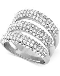 Vince Camuto - Silver-tone Triple Bar Pave Statement Ring - Lyst