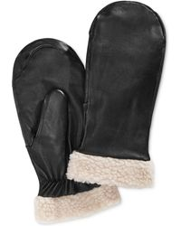 Charter Club - Faux Sherpa-trimmed Leather Mittens, Only At Macy's - Lyst