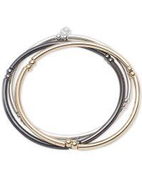 Nine West - Tri-tone Set Of 3 Stretch Bangle Bracelets - Lyst
