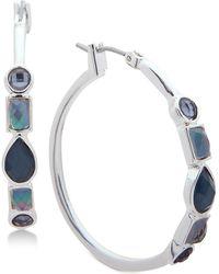 Nine West - Stone Hoop Earrings - Lyst