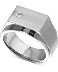 Macy's - Diamond Accent Ring In Titanium - Lyst