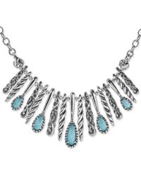 """Carolyn Pollack - Turquoise/rock Crystal Doublet Statement Necklace In Sterling Silver, 17"""" + 3"""" Extender - Lyst"""