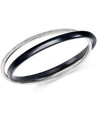 Macy's | Diamond Interlocking Ceramic Bangle Bracelet (9/10 Ct. T.w.) In Sterling Silver | Lyst