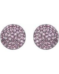 Nina - Swarovski Pave Button Small Earring - Lyst