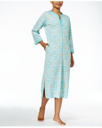 Miss Elaine | Zip-front Printed Knit Robe | Lyst