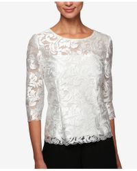 Alex Evenings - 3/4-sleeve Embroidered Top - Lyst