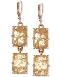 Vince Camuto - Rose Gold-tone Square Crystal Double Drop Earrings - Lyst