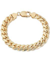 Macy's - Wide Cuban Link Bracelet In 18k Gold-plated Sterling Silver - Lyst