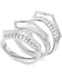 Vince Camuto - Silver-tone 3-pc. Set Stackable Pave V Rings - Lyst