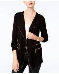 INC International Concepts - Long-sleeve Zip-detail Cardigan - Lyst