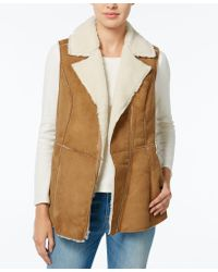 Wildflower - Faux-shearling Moto Vest, Only At Macy's - Lyst