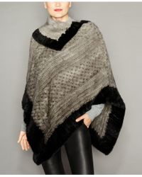 The Fur Vault - Colorblocked Knitted Mink Fur Poncho - Lyst