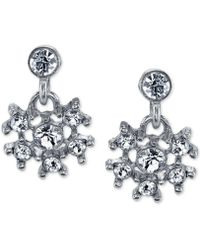 2028 - Silver-tone Crystal Snowflake Drop Earrings - Lyst