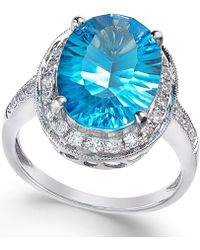 Macy's - Blue Topaz (6 Ct. T.w.) And Diamond (1/3 Ct. T.w.) Ring In 14k White Gold - Lyst