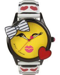 Betsey Johnson - Women's Heart & Stripe Printed Imitation Leather Strap Watch 40mm Bj00610-01 - Lyst