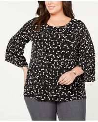 5a29fbe1e3a Lyst - Alfani Plus Size Embroidered Split-sleeve Top in Black