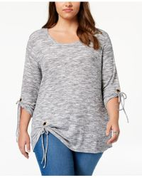 Style & Co. - Plus Size Space-dyed Tie-sleeve Top, Created For Macy's - Lyst
