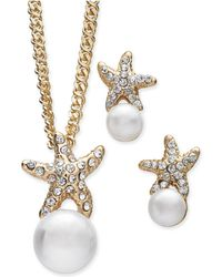 Charter Club - Gold-tone 2-pc. Set Imitation Pearl & Pavé Starfish Pendant Necklace & Matching Stud Earrings, Created For Macy's - Lyst