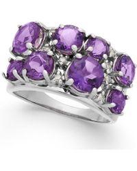 Macy's - Amethyst (3-3/8 Ct. T.w.) & Diamond (1/10 Ct. T.w.) Ring In Sterling Silver - Lyst